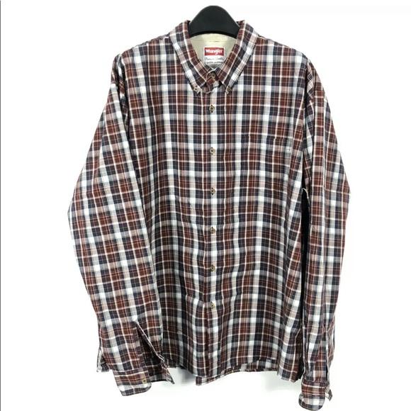 Wrangler Plaid Flannel Long Sleeve Button Shirt